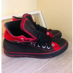 Black and red converse